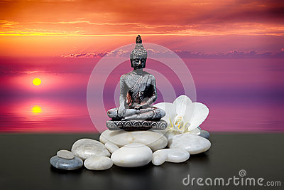 Buddha,zen stone,white orchid flowers.In the background sunrise over the sea