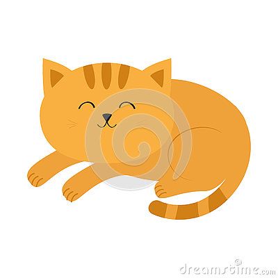 Cute lying sleeping orange cat with moustache whisker. Funny cartoon character. White background. Isolated. Flat design.