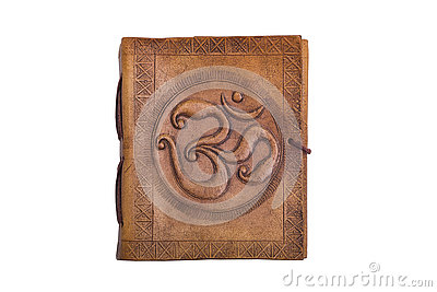 Ancient antique handmade eastern indian embossed leather book with print