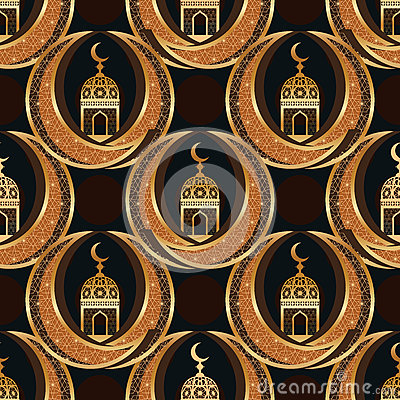 Ramadan Islam twin moon symmetry seamless pattern