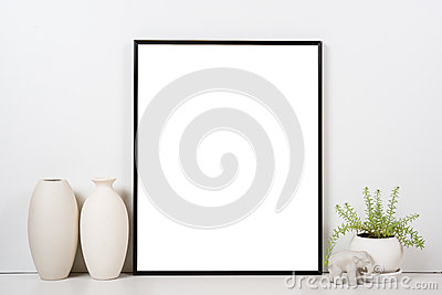 Styled tabletop, empty frame, painting art poster interior mock-