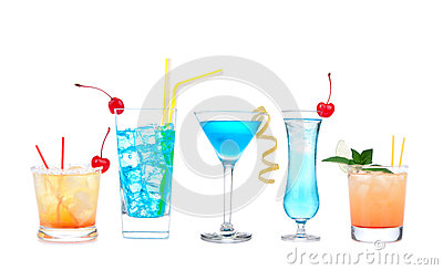Five cocktails with alcohol margarita cocktail martini blue hawaian