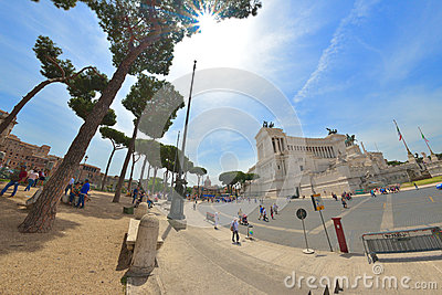 Rome, ITALY - JUNE 01: Piazza Venezia and Victor Emmanuel II Monument in Rome, Italy on June 01, 2016