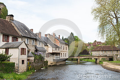 Half timbered houses in Segur-le-Chateau