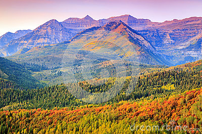 Colorful autumn sunrise in the Utah mountains.