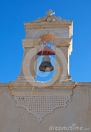 Artistic bell tower of the old church at Crete Island, Greece