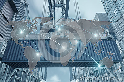 stock image of import, export, logistics concept - map global partner connection of container cargo freight ship for logistic import export back