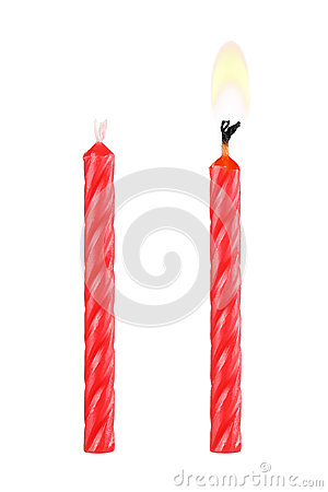 two red birthday candles isolated on white
