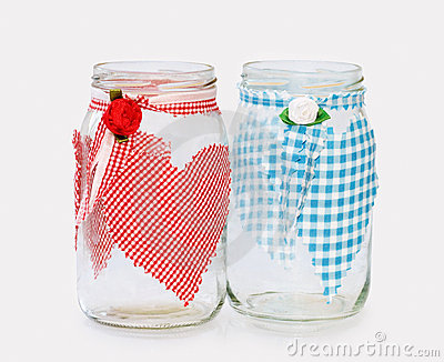 'His and Hers' - two glass jars handecorated