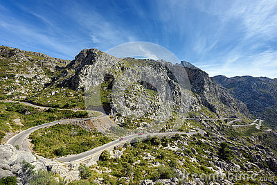 Mountain road to the village Sa Calobra. The Island Majorca, Spain