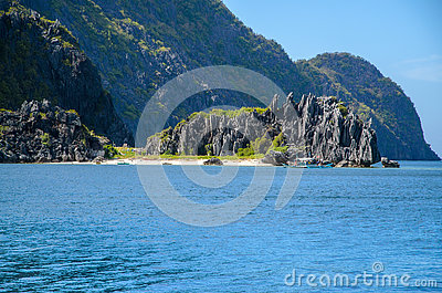 El Nido, Philippines - rocks in front of Matinloc island