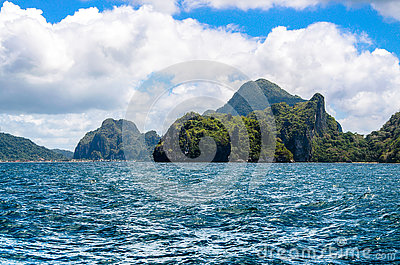 Rough sea, Cadlao island, el nido on Background, Palawan, Philippines