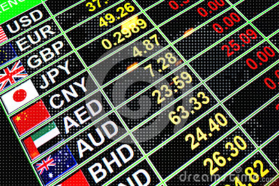 Exchange rate currency on digital board for business money concept
