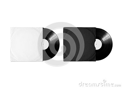 Blank white black vinyl album cover sleeve mockup, clipping path