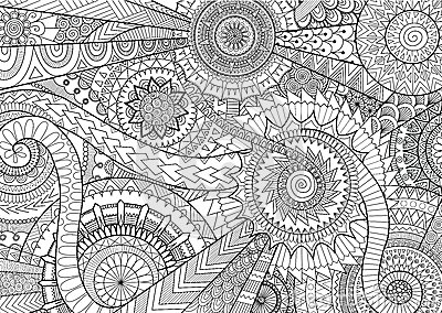 Complex mandala movement design for adult coloring book and background