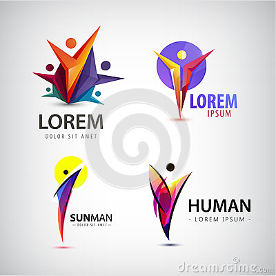 Vector set of man logos, team, family icon. Winner, leader, business logo.