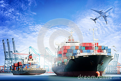 Container Cargo ship and Cargo plane with working crane bridge in shipyard background