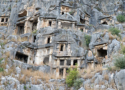 Famous rock-cut Lycian tombs in Myra (Demre), Turkey