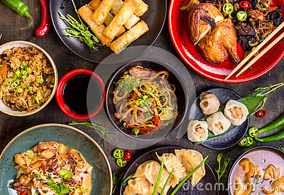 stock image of assorted chinese food set