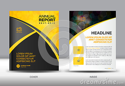 Yellow and black Annual report template cover design