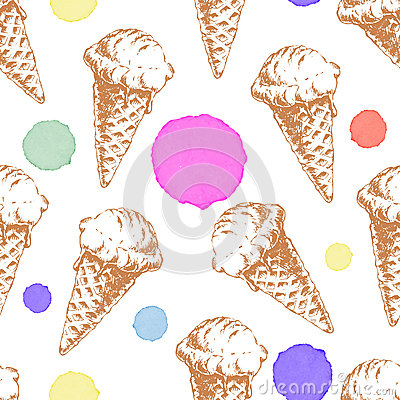 Seamless pattern with cone waffle ice cream and colorful watercolor drops.