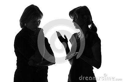 Black and white silhouette of a mother worried that her daughter listens to problems in adolescence