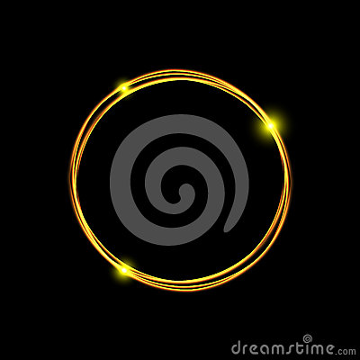 Energy frame. Magic light neon energy circle. Glowing fire ring trace. Glitter sparkle swirl trail effect