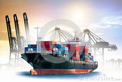 Logistics and transportation of International Container Cargo ship with ports crane bridge in harbor for logistic import export