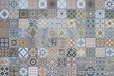 Tiles Floor Ornament Collection Gorgeous Seamless Patchwork Colorful Painted Tin Glazed Ceramic Tilework Pattern