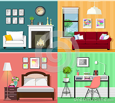 Set of colorful graphic room interiors with furniture icons: living rooms, bedroom and home office. Flat style vector illustration