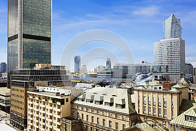 Old residences and modern office buildings at Warsaw
