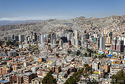 Highrise buildings dominate the spectacular La Paz skyline in Bolivia.