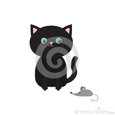 Cute black cartoon sitting cat looking at mouse. Mustache whisker. Funny character. Flat design. White background. Isolated