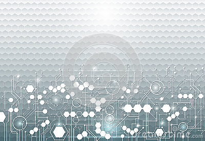 Vector illustration circuit board on hexagons background. Hi-tech digital technology and engineering