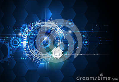 Vector illustration gear wheel, hexagons and circuit board, Hi-tech digital technology and engineering