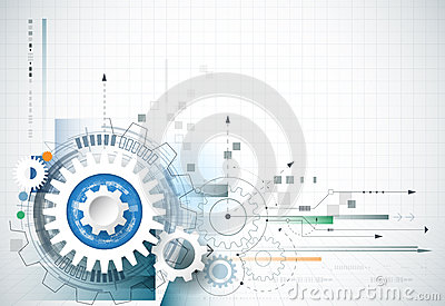 Abstract technology background. Vector gear wheel, hexagons and circuit board