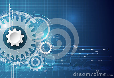 Vector technology background. illustration gear wheel, hexagons and circuit board, Hi-tech technology engineering
