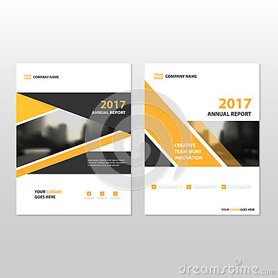 Yellow black triangle Vector annual report Leaflet Brochure Flyer template design, book cover layout design