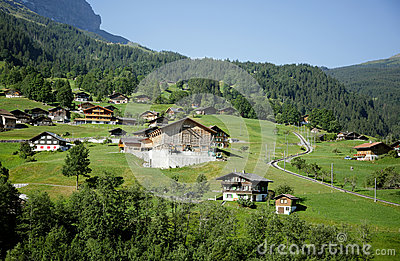 A beautiful Alpine village in Swiss Alps