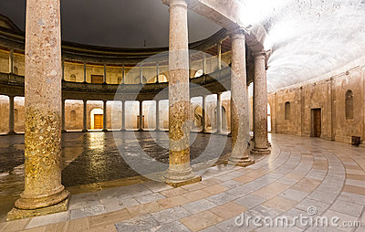 Night view of  Courtyard of the Palace of Charles V at Alhambra.