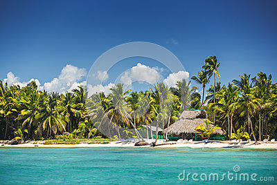 Carribean sea and tropical island in Dominican Republic, panoramic view