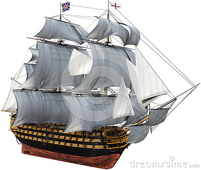 British Warship, Tall Sails, Isolated