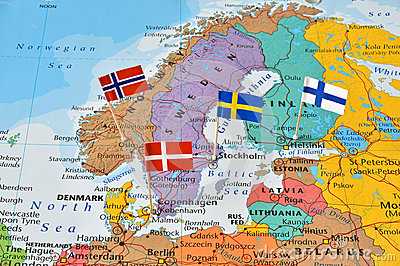 Nordic countries flag pins on map