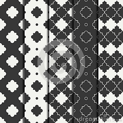 Set of geometric line monochrome lattice seamless arabic pattern. Islamic oriental style. Wrapping paper. Scrapbook