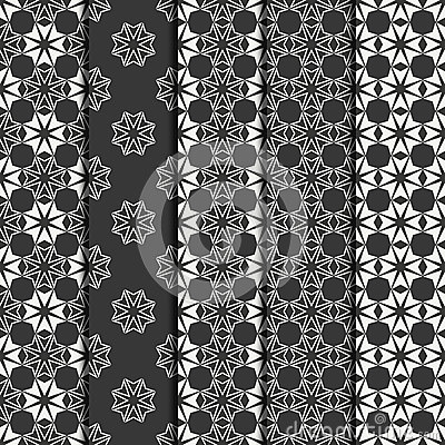 Set of geometric line lattice seamless arabic pattern. Islamic oriental style. Wrapping paper. Scrapbook paper. Tiling
