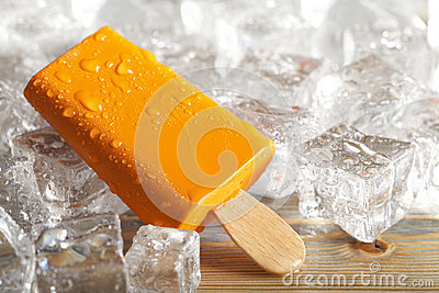 Ice lolly on ice cubes
