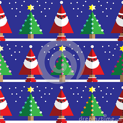 Seamless pattern with geometrical Santa Claus, snow , Christmas trees with  light blue, orange, pink lights and star element