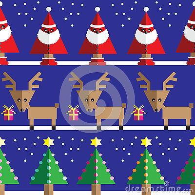 Seamless pattern with geometrical Reindeer, gifts, Santa Claus, snow, Christmas trees with  light blue, orange, pink lights