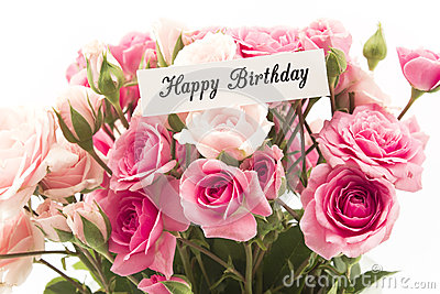 Happy Birthday Card with Bouquet of Pink Roses