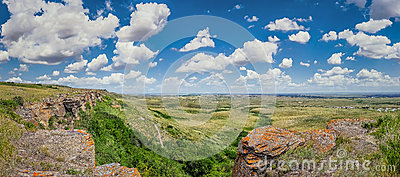 Canadian Prairie at Head-Smashed-In Buffalo Jump in Southern Alberta, Canada